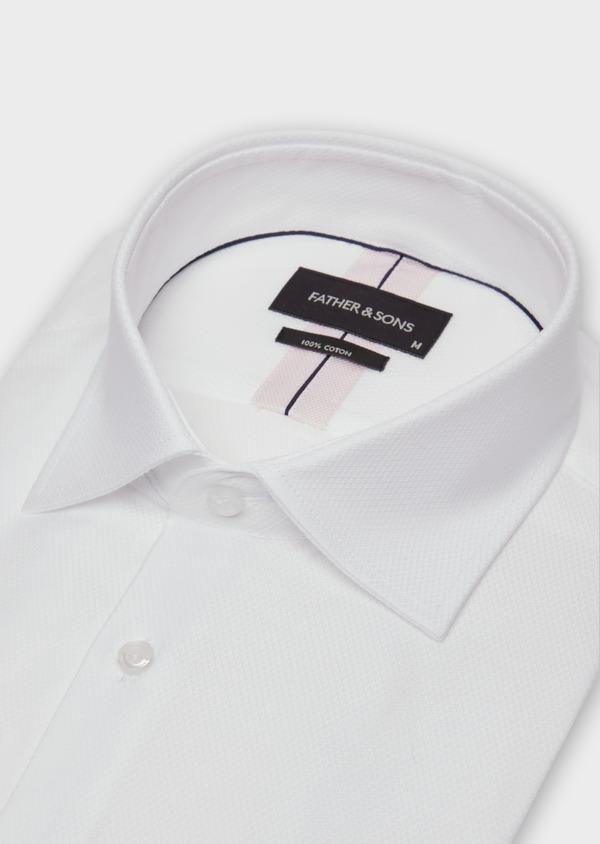 Chemise habillée Slim en coton façonné blanc à motif fantaisie - Father and Sons 36655