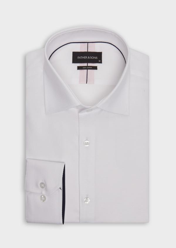 Chemise habillée Slim en coton façonné blanc à motif fantaisie - Father and Sons 36661