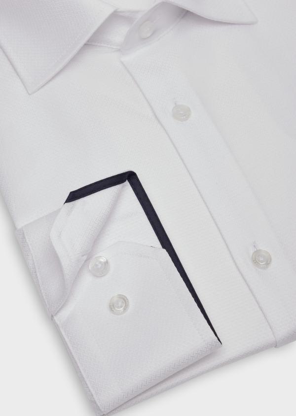 Chemise habillée Slim en coton façonné blanc à motif fantaisie - Father and Sons 36664