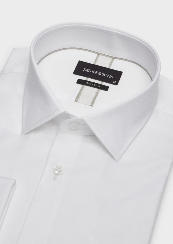 Chemise habillée Slim en coton façonné blanc à motif fantaisie - Father and Sons 38321