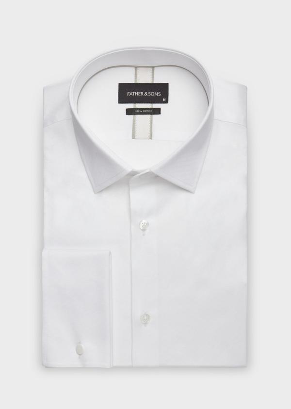 Chemise habillée Slim en coton façonné blanc à motif fantaisie - Father and Sons 38319