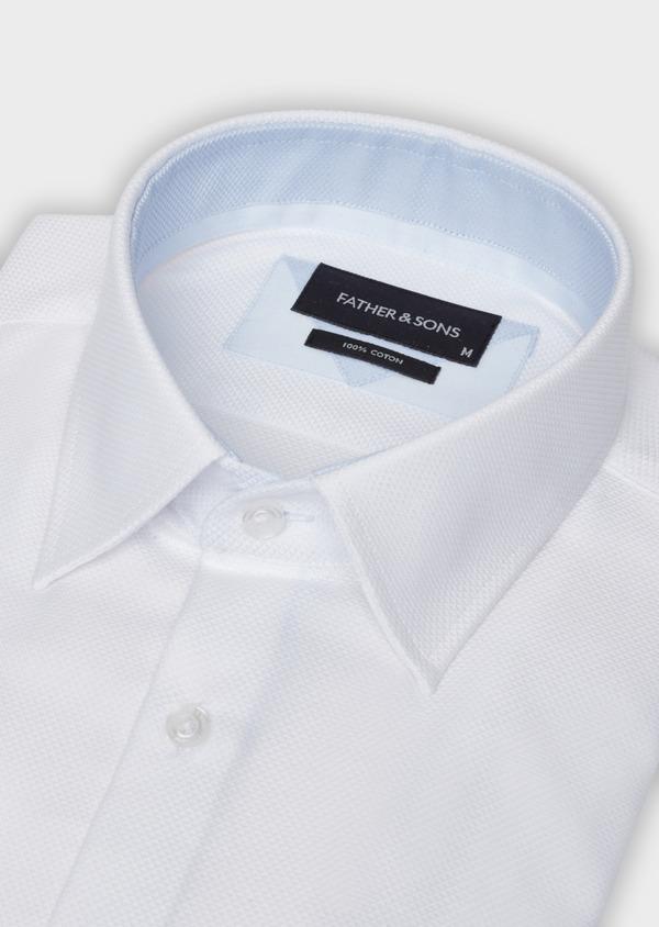 Chemise habillée Slim en coton façonné blanc - Father and Sons 38325