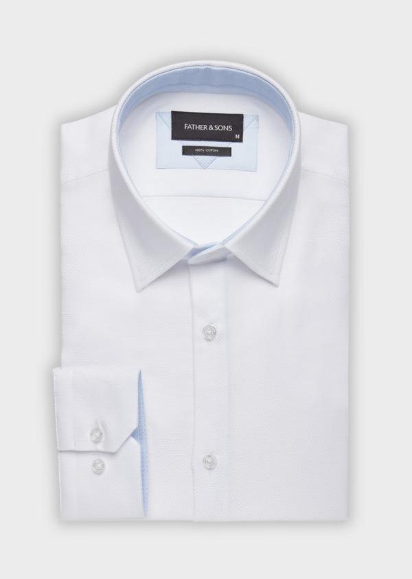Chemise habillée Slim en coton façonné blanc - Father and Sons 38323