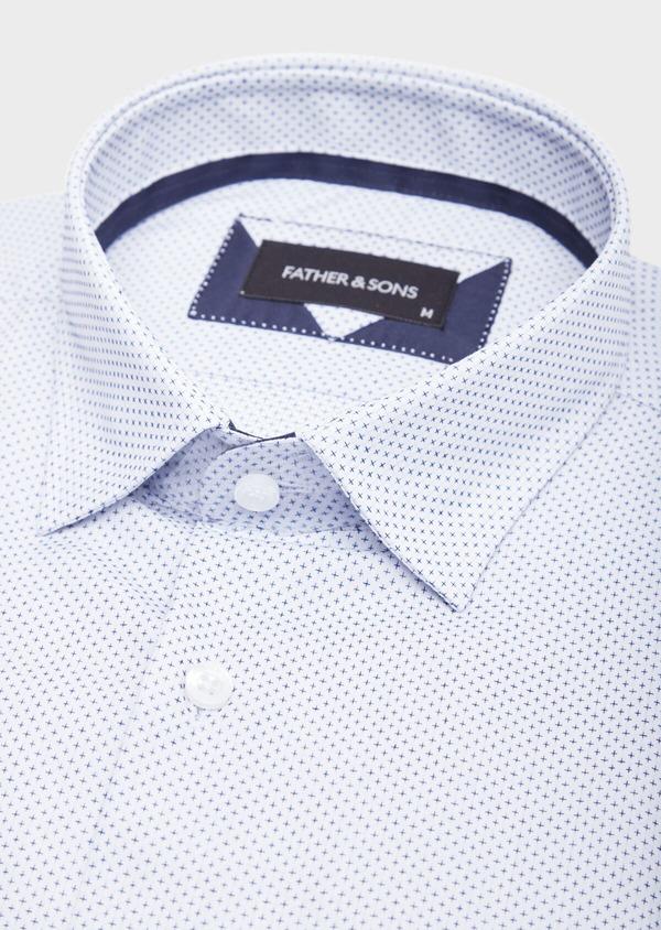 Chemise habillée Slim en popeline de coton blanc à motif fantaisie bleu - Father and Sons 38574