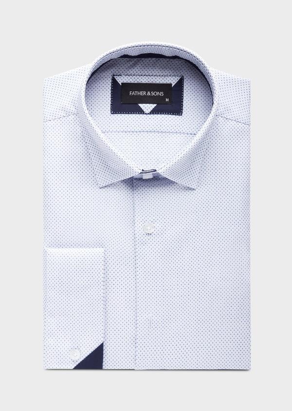 Chemise habillée Slim en popeline de coton blanc à motif fantaisie bleu - Father and Sons 38572
