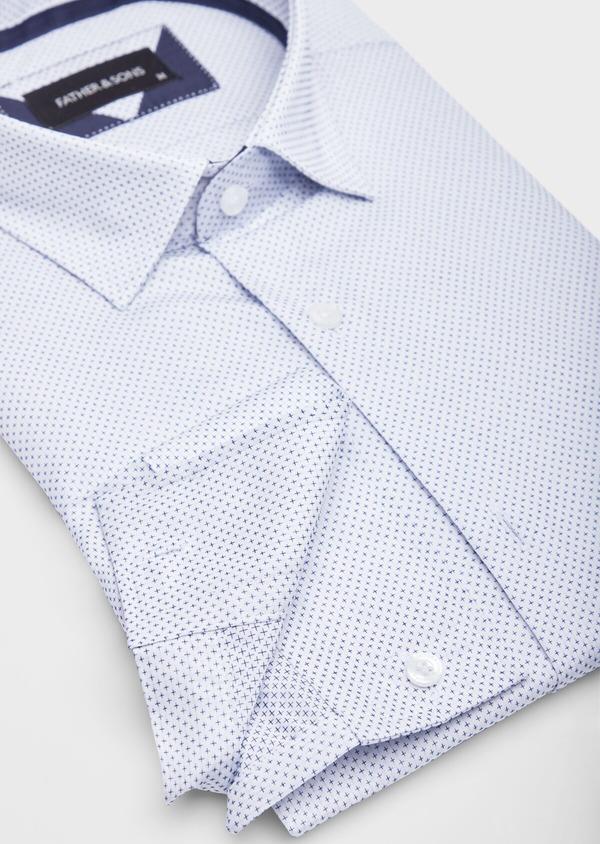 Chemise habillée Slim en popeline de coton blanc à motif fantaisie bleu - Father and Sons 38575