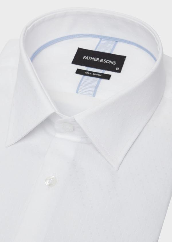 Chemise habillée Slim en coton façonné blanc à motif fantaisie ton sur ton - Father and Sons 38381