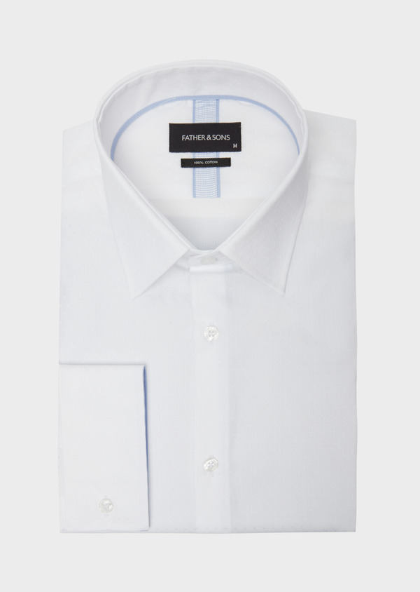 Chemise habillée Slim en coton façonné blanc à motif fantaisie ton sur ton - Father and Sons 38379
