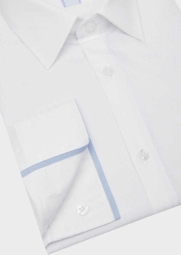Chemise habillée Slim en coton façonné blanc à motif fantaisie ton sur ton - Father and Sons 38382