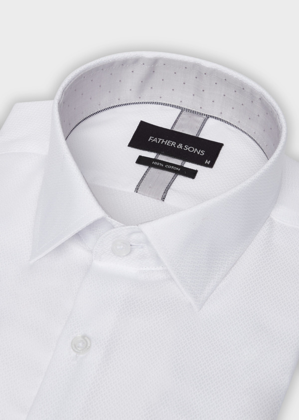 Chemise habillée Slim en coton façonné à motif fantaisie ton sur ton blanc - Father and Sons 38397