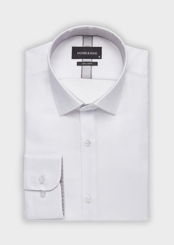Chemise habillée Slim en coton façonné à motif fantaisie ton sur ton blanc - Father and Sons 38395