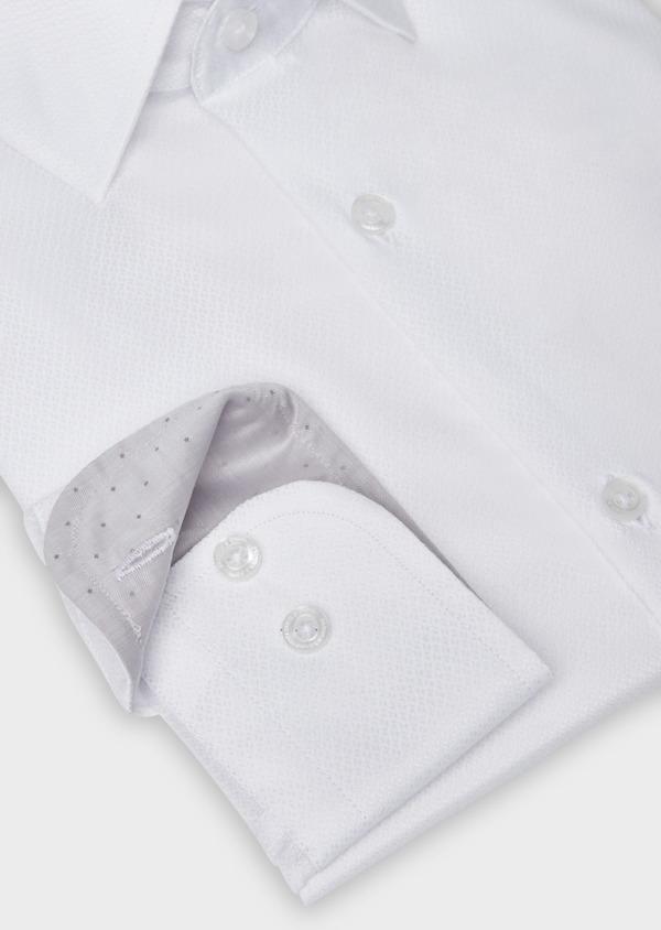 Chemise habillée Slim en coton façonné à motif fantaisie ton sur ton blanc - Father and Sons 38398