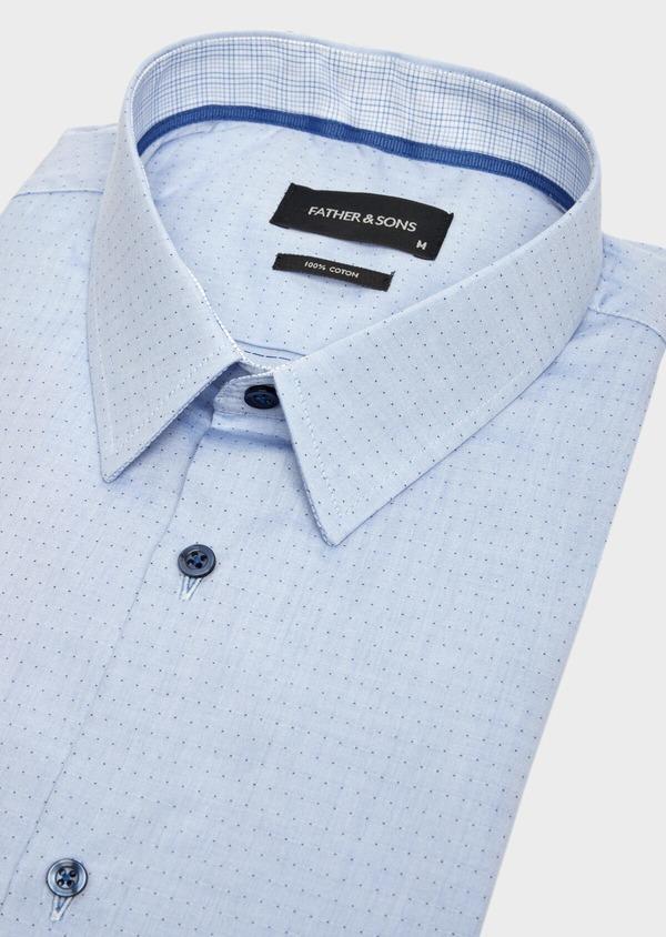 Chemise habillée Slim en popeline de coton bleu à motif fantaisie - Father and Sons 39540