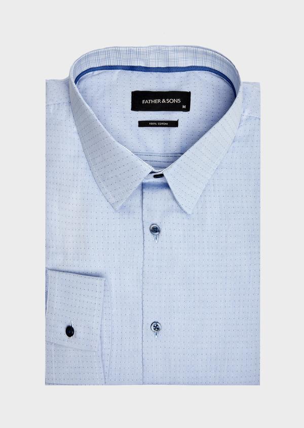 Chemise habillée Slim en popeline de coton bleu à motif fantaisie - Father and Sons 39538