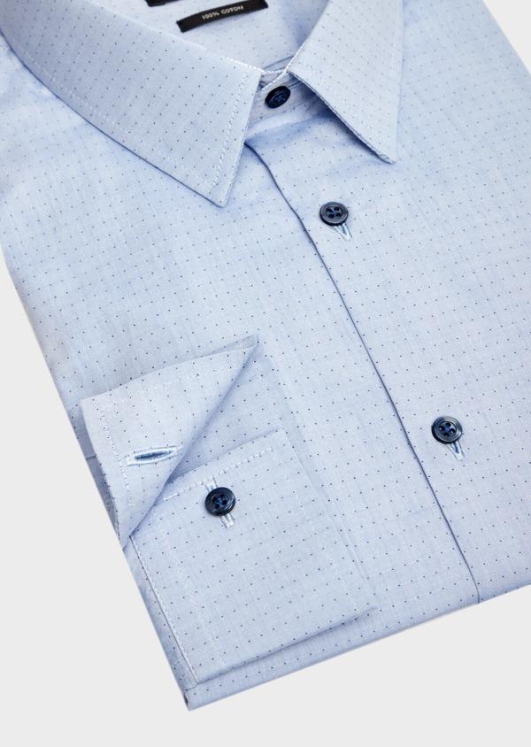Chemise habillée Slim en popeline de coton bleu à motif fantaisie - Father and Sons 39541