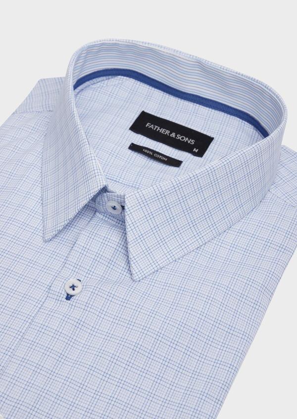 Chemise habillée Slim en popeline de coton azur à motif fantaisie - Father and Sons 39309