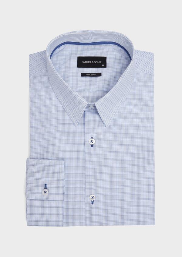 Chemise habillée Slim en popeline de coton azur à motif fantaisie - Father and Sons 39307