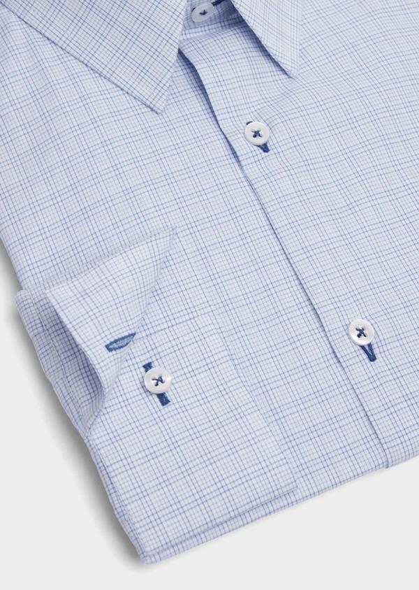 Chemise habillée Slim en popeline de coton azur à motif fantaisie - Father and Sons 39310