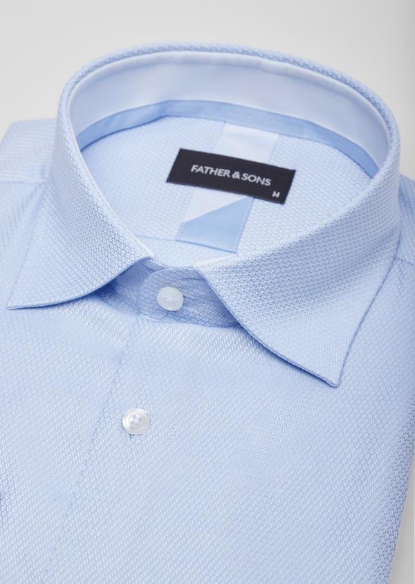 Chemise habillée Slim en coton façonné mélangé bleu chambray - Father and Sons 38582