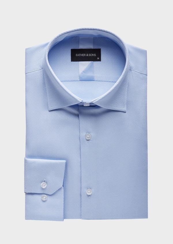 Chemise habillée Slim en coton façonné mélangé bleu chambray - Father and Sons 38580
