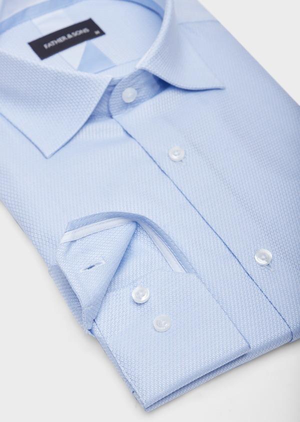 Chemise habillée Slim en coton façonné mélangé bleu chambray - Father and Sons 38583
