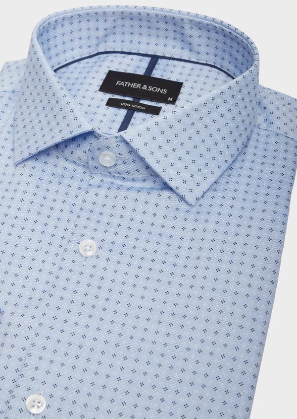 Chemise habillée Slim en coton bleu chambray à motif fantaisie - Father and Sons 38586