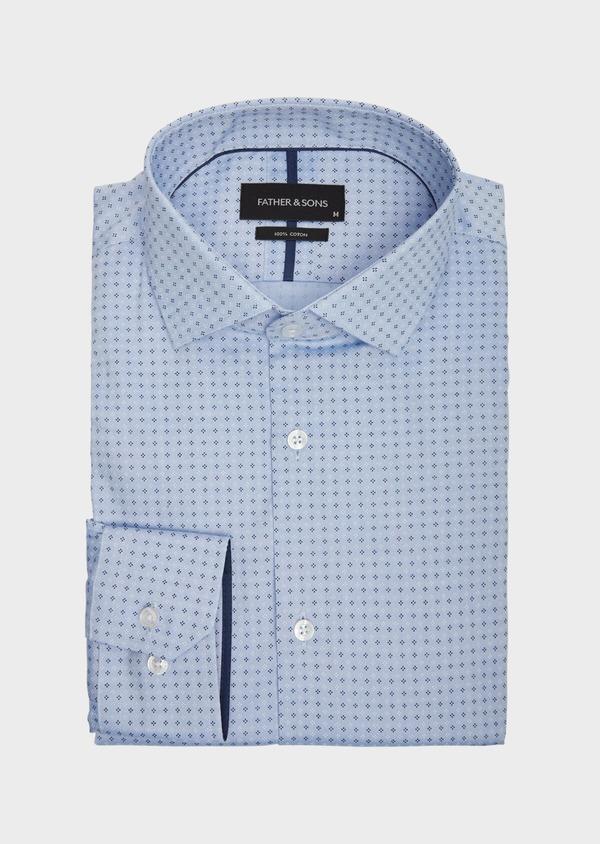 Chemise habillée Slim en coton bleu chambray à motif fantaisie - Father and Sons 38584