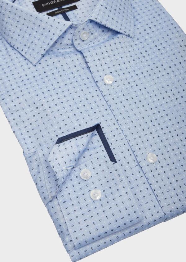 Chemise habillée Slim en coton bleu chambray à motif fantaisie - Father and Sons 38587