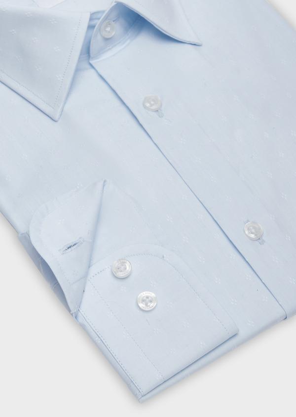 Chemise habillée Slim en popeline de coton bleu pâle à motif fantaisie - Father and Sons 38334
