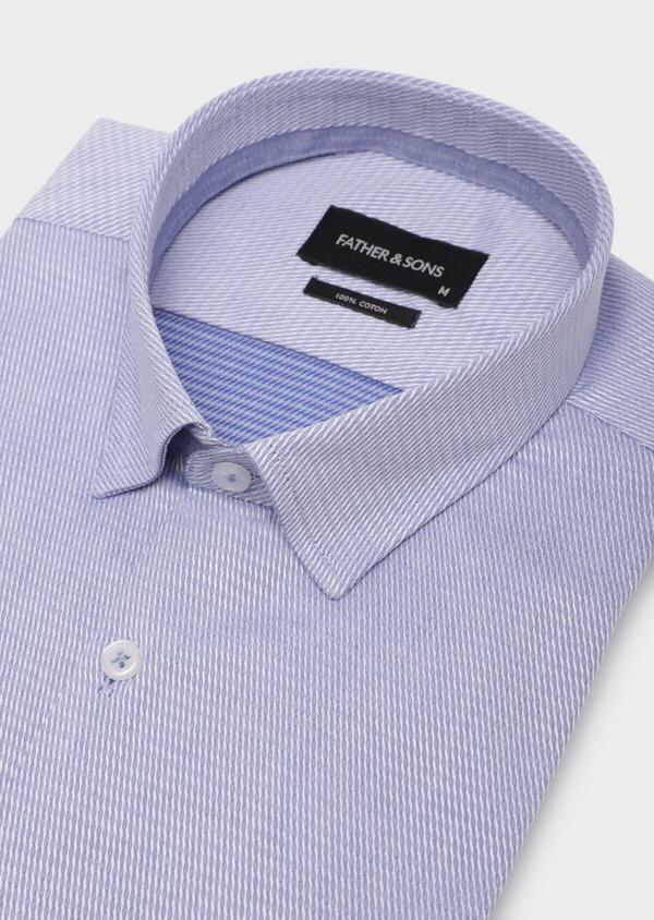 Chemise habillée Slim en coton Jacquard bleu chambray à motif fantaisie bleu et blanc - Father and Sons 35790