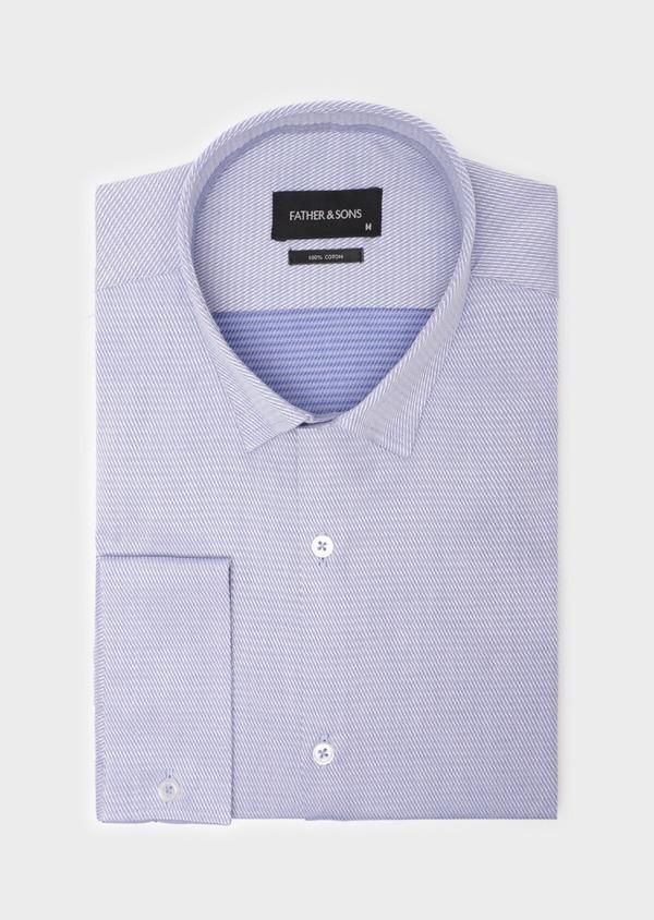 Chemise habillée Slim en coton Jacquard bleu chambray à motif fantaisie bleu et blanc - Father and Sons 35788