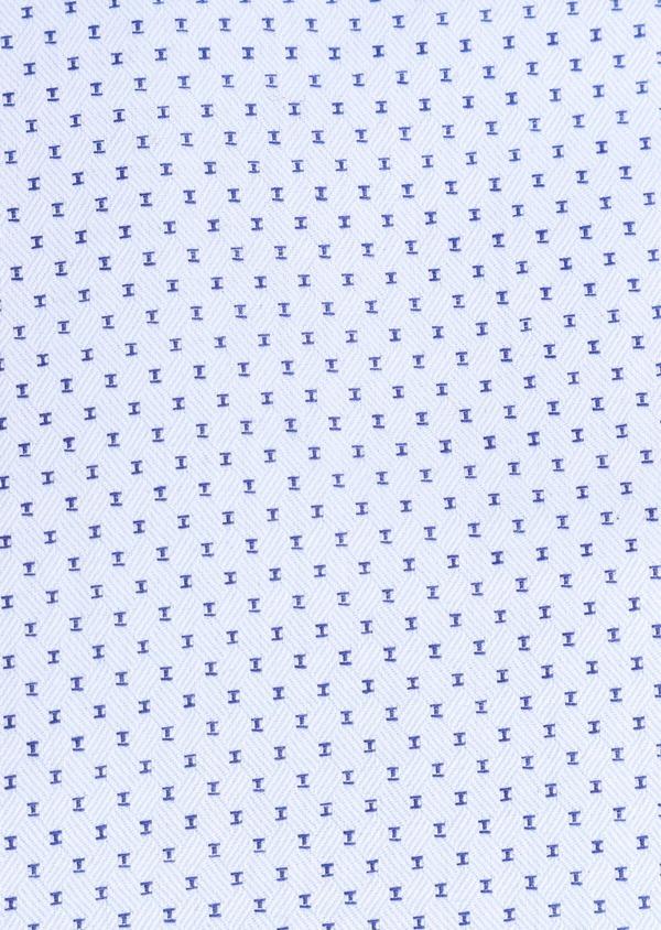 Chemise habillée Slim en coton façonné bleu ciel à motif fantaisie bleu marine - Father and Sons 34885