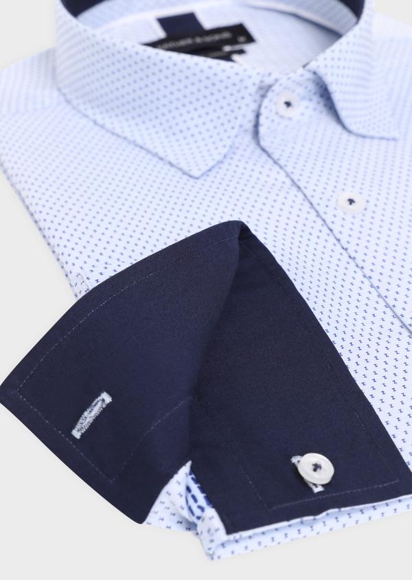 Chemise habillée Slim en coton façonné bleu ciel à motif fantaisie bleu marine - Father and Sons 34886