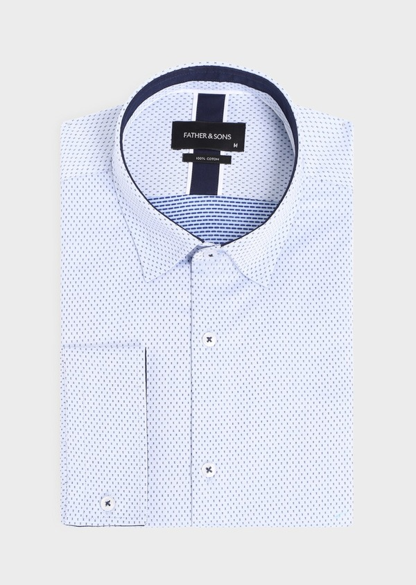 Chemise habillée Slim en coton façonné bleu ciel à motif fantaisie bleu marine - Father and Sons 34884