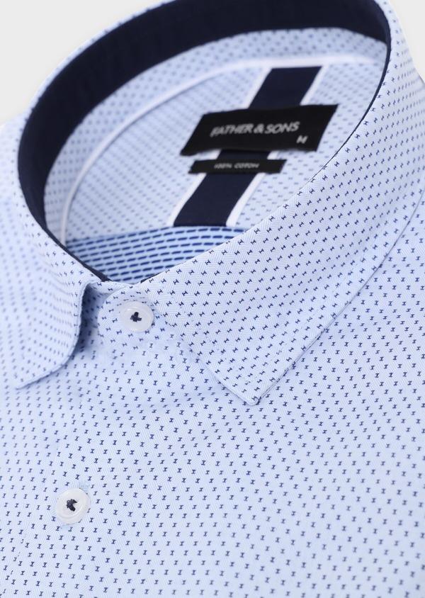 Chemise habillée Slim en coton façonné bleu ciel à motif fantaisie bleu marine - Father and Sons 34887
