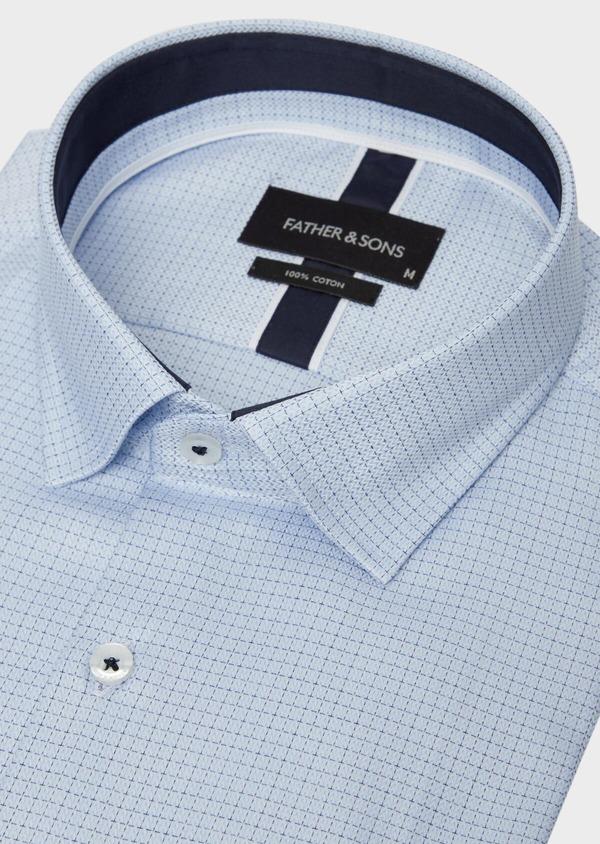 Chemise habillée Slim en coton bleu ciel à motif fantaisie - Father and Sons 37213