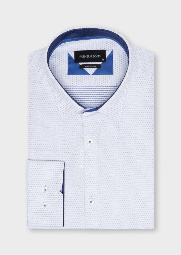 Chemise habillée Slim en popeline de coton à motif fantaisie bleu - Father and Sons 34964