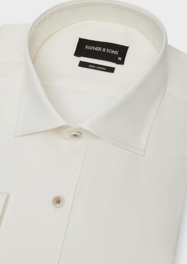 Chemise habillée Slim en coton façonné écru - Father and Sons 38309