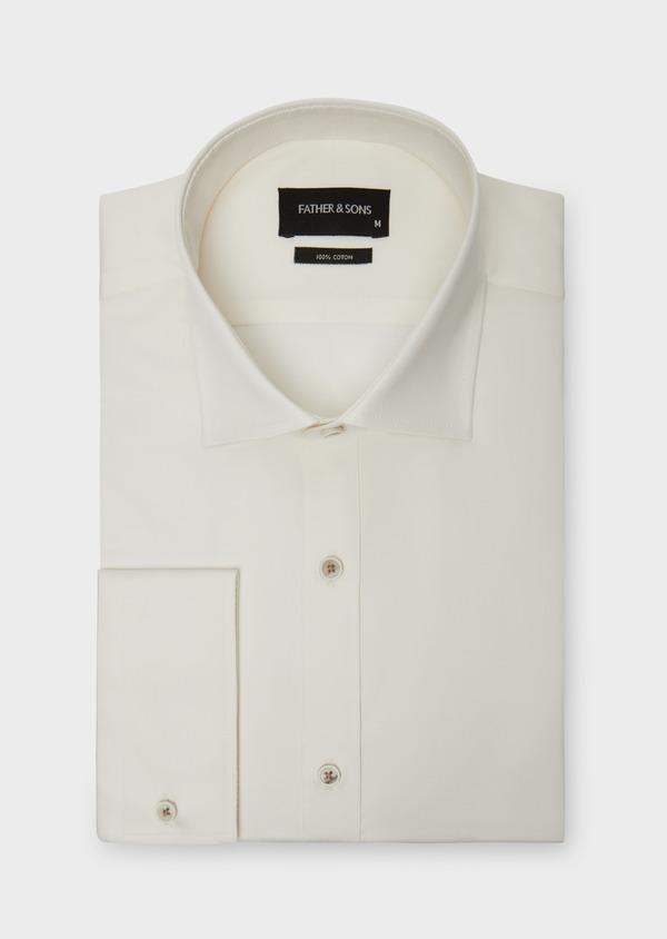 Chemise habillée Slim en coton façonné écru - Father and Sons 38307