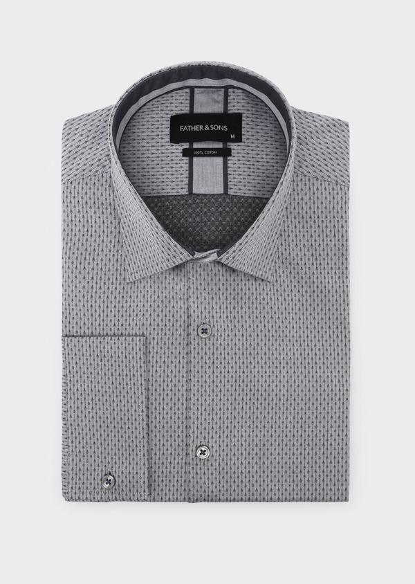 Chemise habillée Slim en coton façonné gris à motif fantaisie - Father and Sons 34908