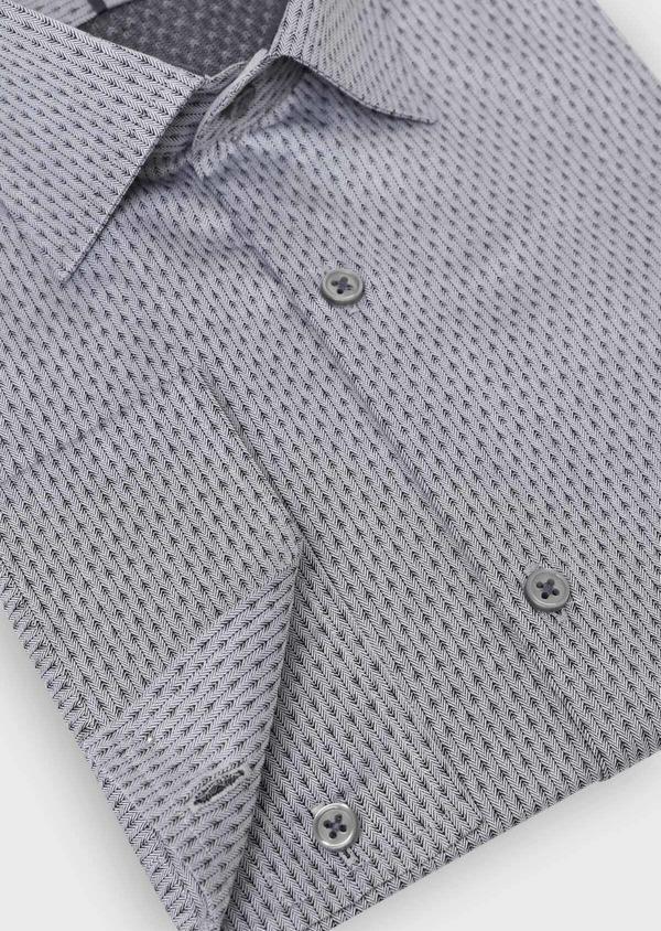 Chemise habillée Slim en coton façonné gris à motif fantaisie - Father and Sons 34911
