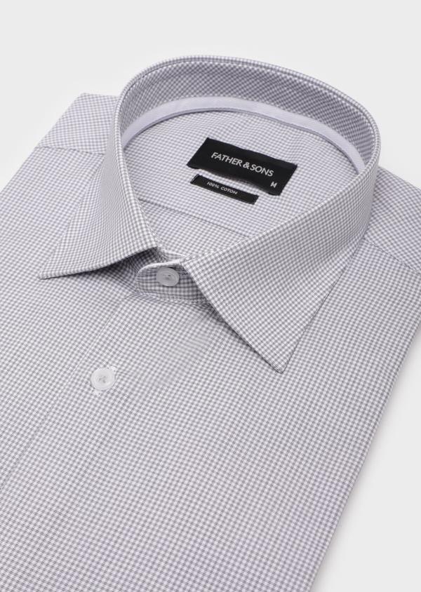 Chemise habillée Slim en popeline de coton gris clair à motif fantaisie - Father and Sons 35949