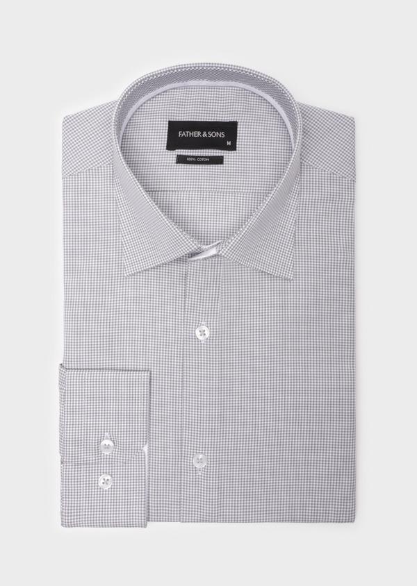 Chemise habillée Slim en popeline de coton gris clair à motif fantaisie - Father and Sons 35947