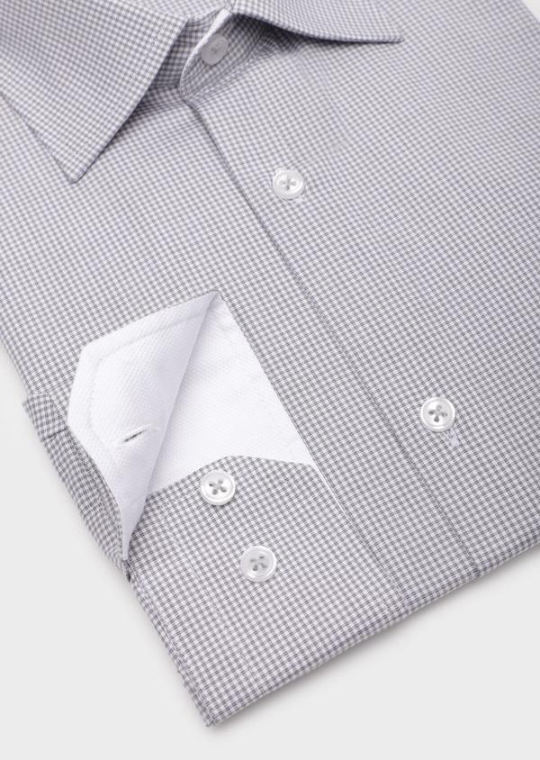 Chemise habillée Slim en popeline de coton gris clair à motif fantaisie - Father and Sons 35950