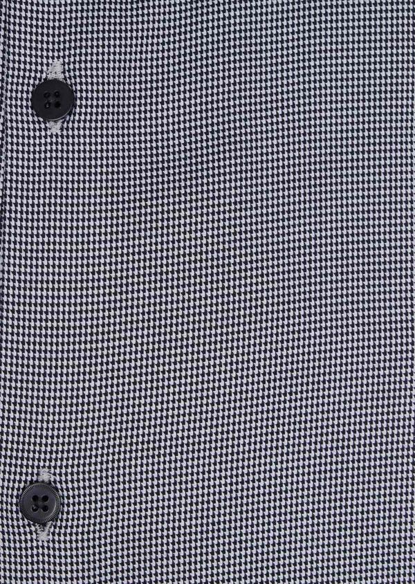 Chemise habillée Slim en popeline de coton à motif pied de puce noir - Father and Sons 34989