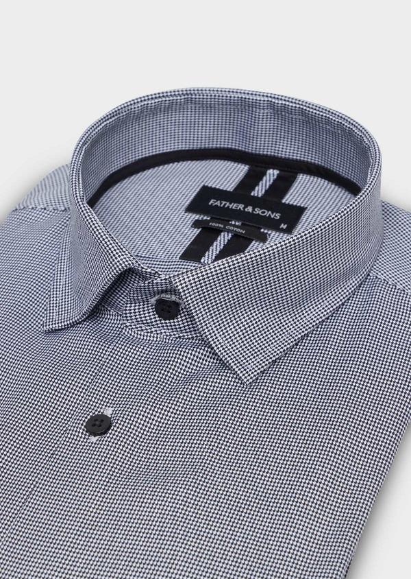 Chemise habillée Slim en popeline de coton à motif pied de puce noir - Father and Sons 34990