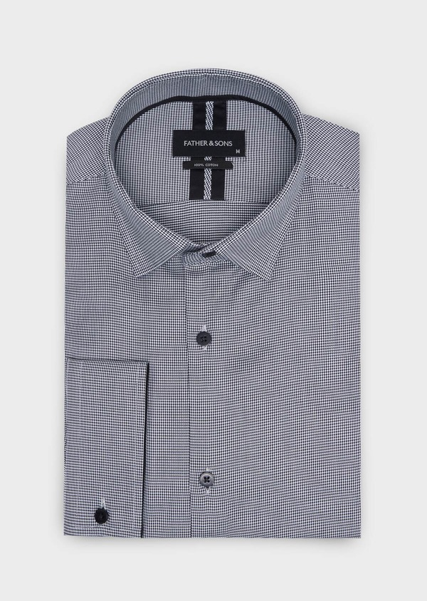Chemise habillée Slim en popeline de coton à motif pied de puce noir - Father and Sons 34988