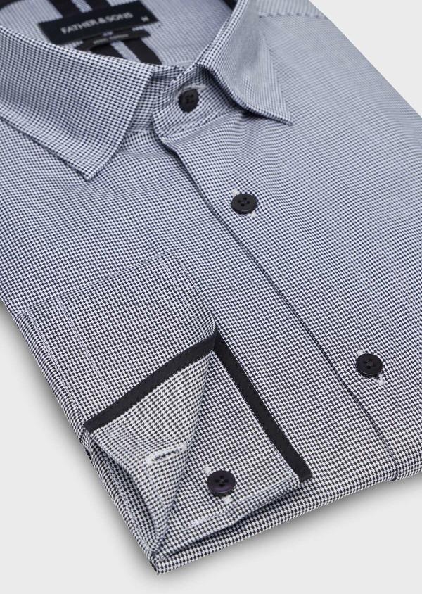 Chemise habillée Slim en popeline de coton à motif pied de puce noir - Father and Sons 34991