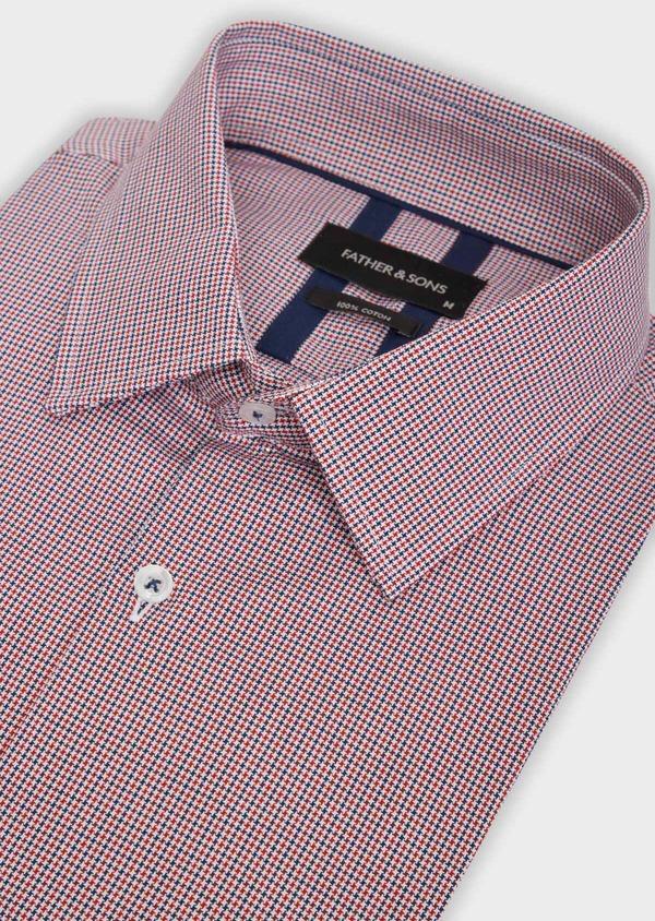 Chemise habillée Slim en popeline de coton rouge à motif fantaisie - Father and Sons 36288