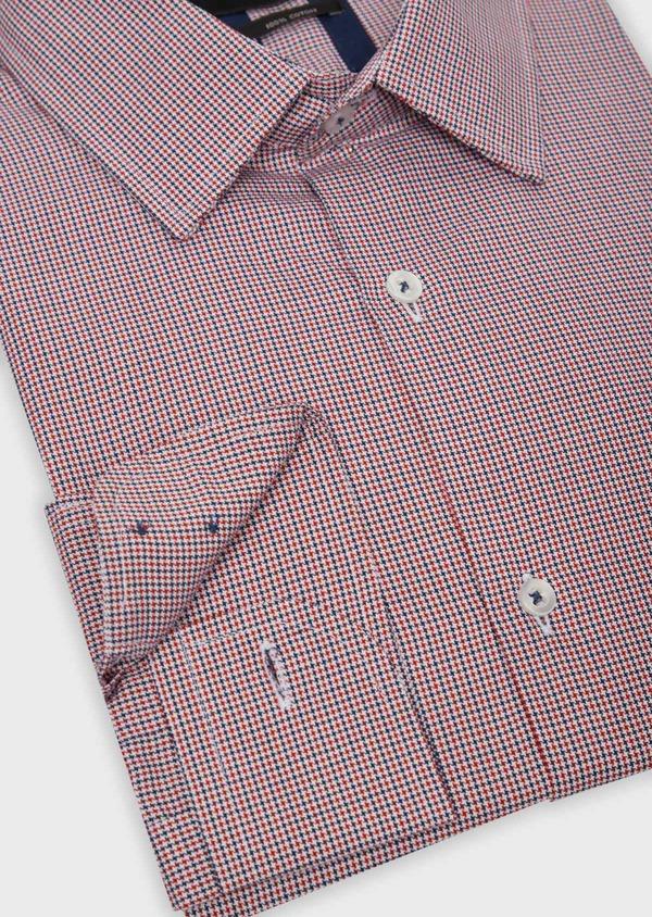 Chemise habillée Slim en popeline de coton rouge à motif fantaisie - Father and Sons 36289
